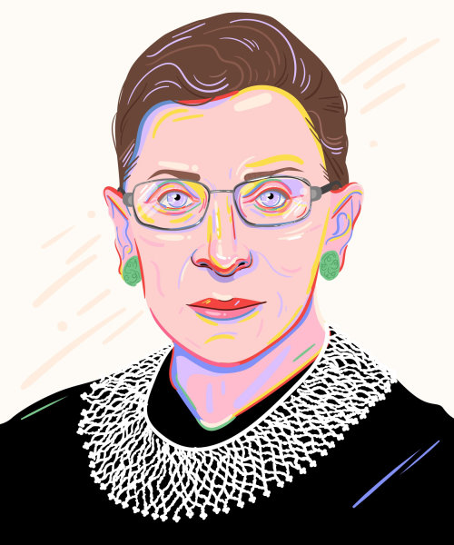 Portrait illustration of Ruth Bader Ginsburg