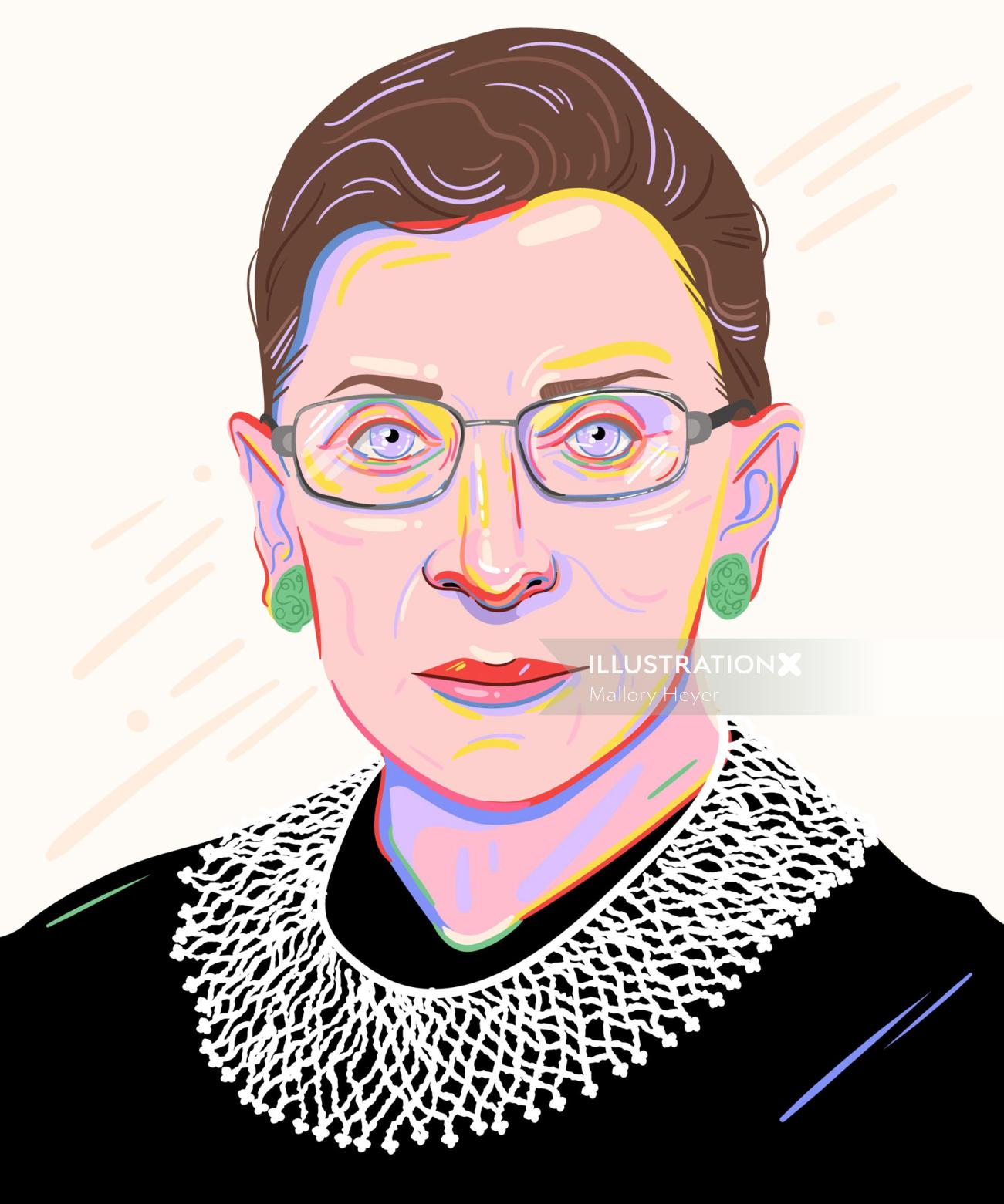 Portrait illustration of Ruth Bader Ginsburg
