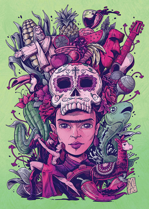 Catrina Latin mixture poster art by Marcelo Anache