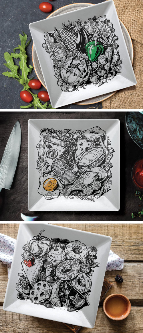Food illustration on dish collections