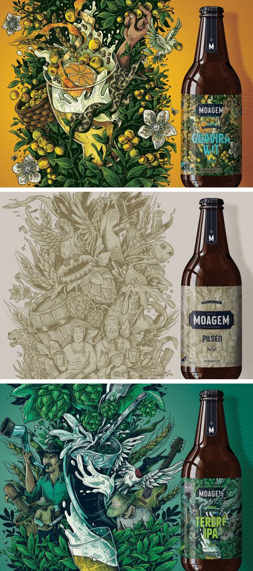 Beer label illustration for Moagem Brewery