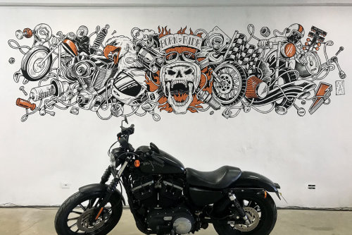 Contemporary art of motorcycle mural for motorcycle garage
