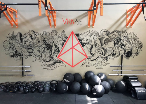 Gymnastics Icons mural art for First Crossfit Gym