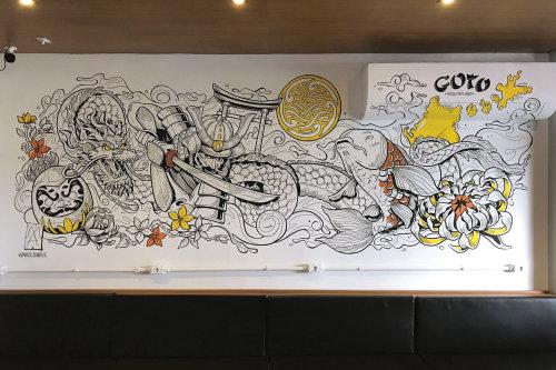 Mural art at Japanese food restaurant