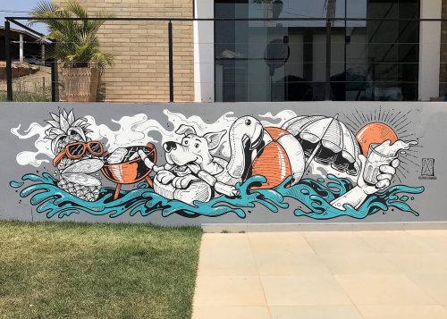 Fantasy mural art by Marcelo Anache