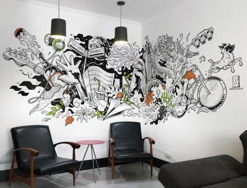 Decorative Bike ride theme mural art