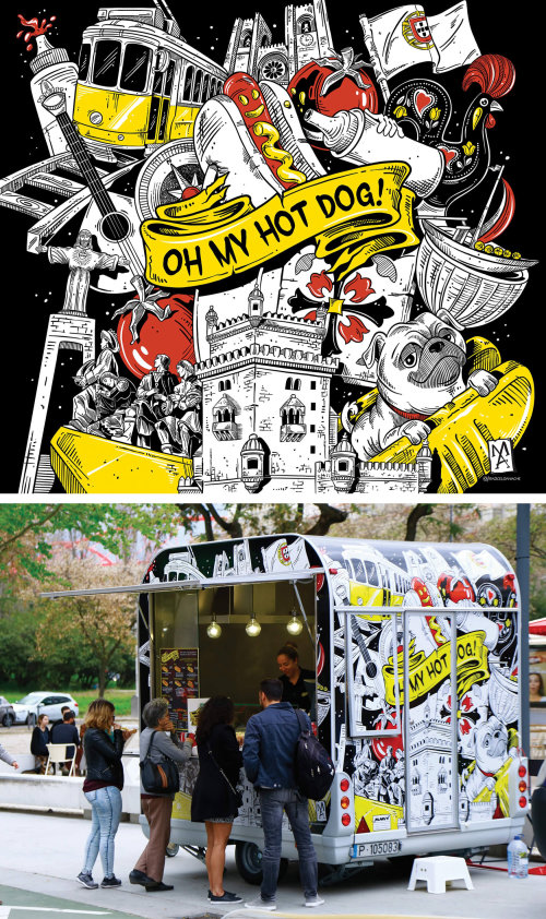 Advertising illustration for OH MY HOT DOG food truck in Portugal
