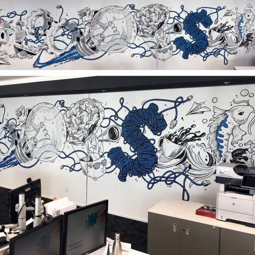 Mural art at BTG Pactual digital