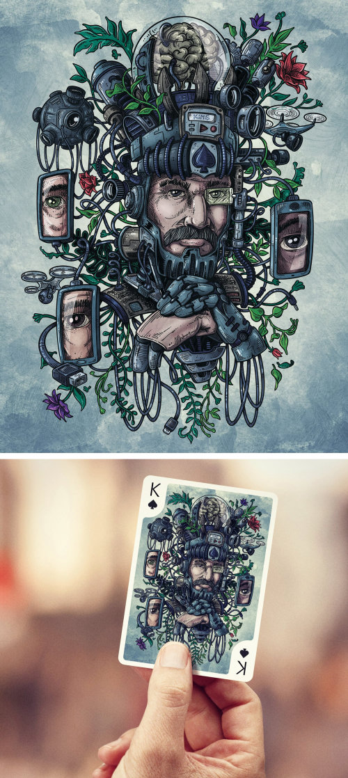 Fantasy playing card illustration by Marcelo Anache
