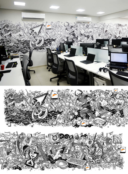 Technology and Mythology mural art for office interior