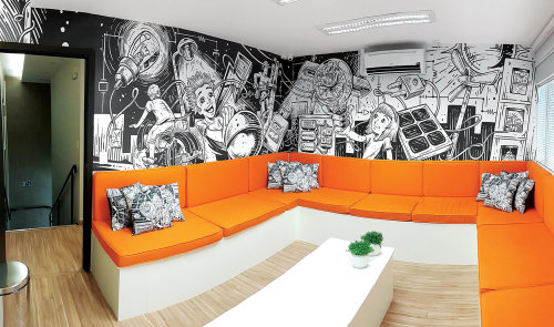 Interior wall mural art for Espaço Energia