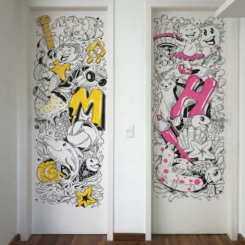 Graphic art on children room door