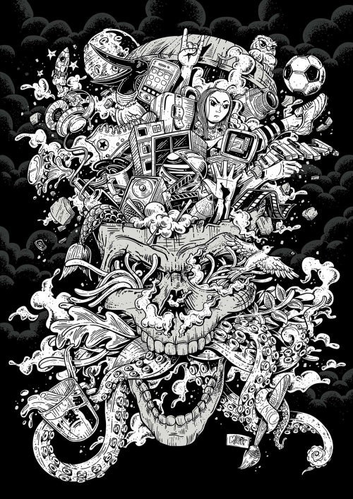 Black and White All in my head poster