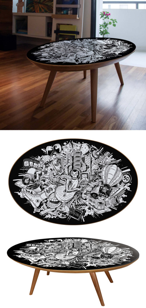 Fantasy art on side table by Marcelo Anache