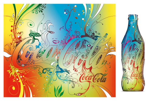 Packaging illustration of Coca-Cola bottle
