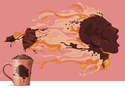 Dr. Oetker promotional mug illustration