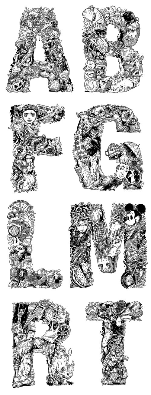 Black and White Illustrated Alphabets