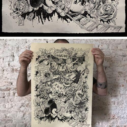 Black and white timeline art