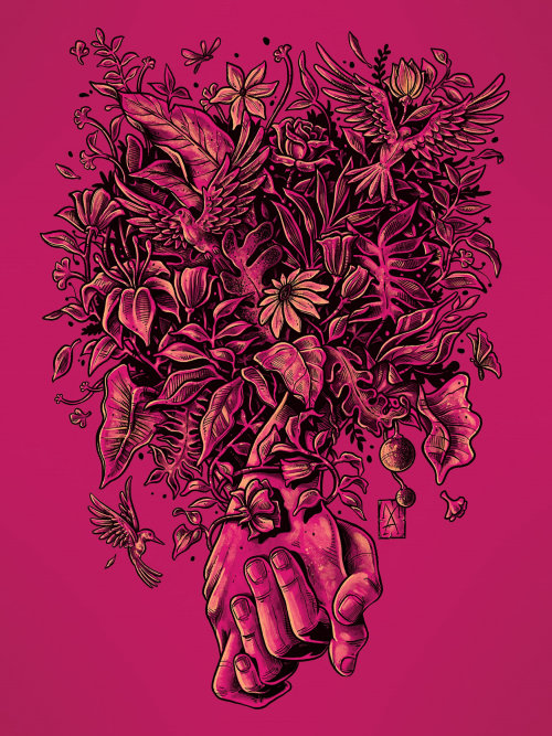 Floral theme hand holding digital art