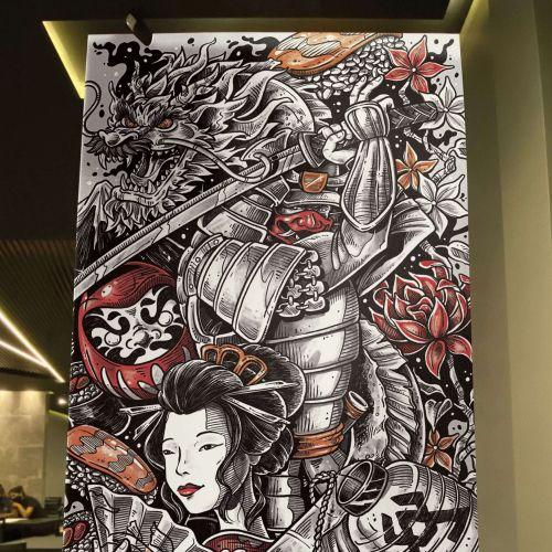 Decorative wall mural for Japanese restaurant Kodawari in Guaíra, Paraná