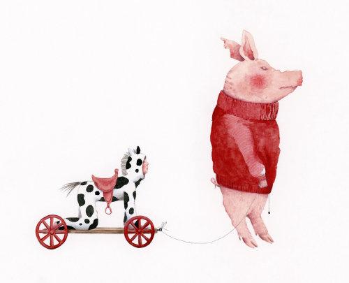 Porco com uma criança vestida como um cavalo de brinquedo.