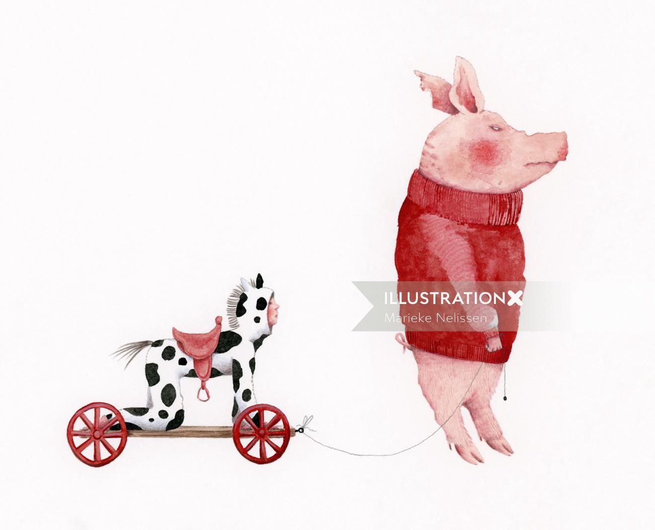 Pig with a child that is dressed up like a toy horse.