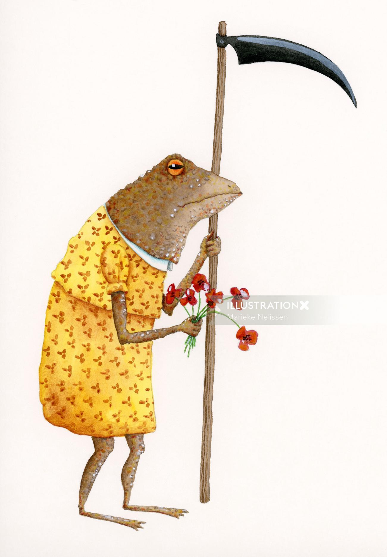 Toad holding a scythe and flowers