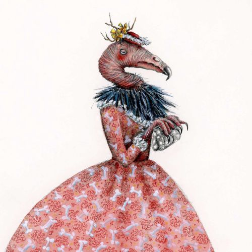 Conceptual illustration of vulture in a Victorian dress