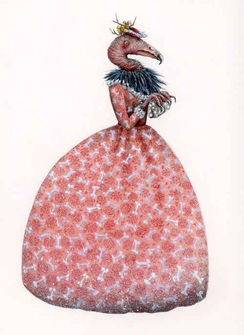 Ilustração conceitual de abutre em um vestido vitoriano