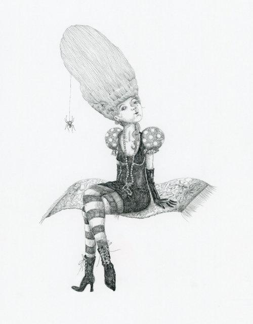 Bruxa arrogante em um tapete voador