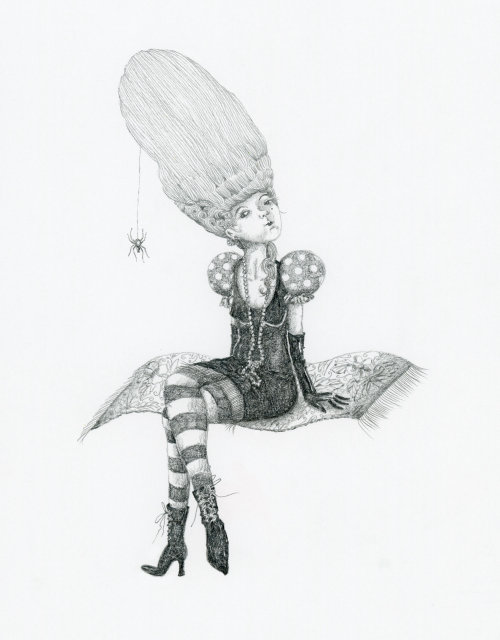 Arrogant witch on a flying carpet