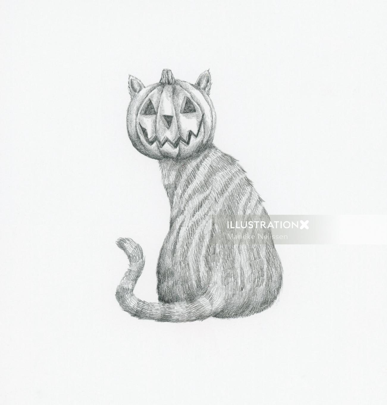 Cat with a pumpkin head
