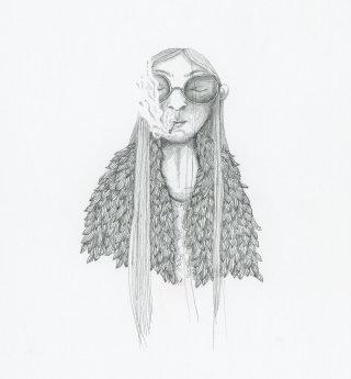 Witch smoking a cigarette artwork by Marieke Nelissen