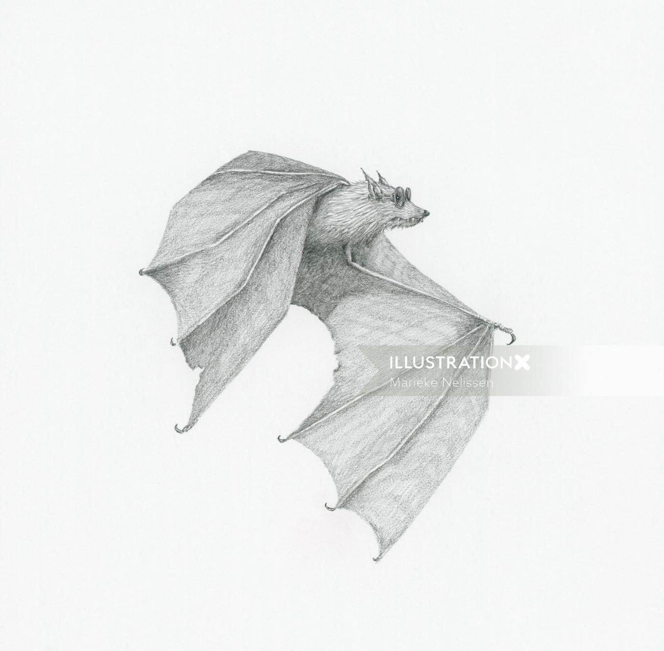 Bat wearing sunglasses artwork by Marieke Nelissen