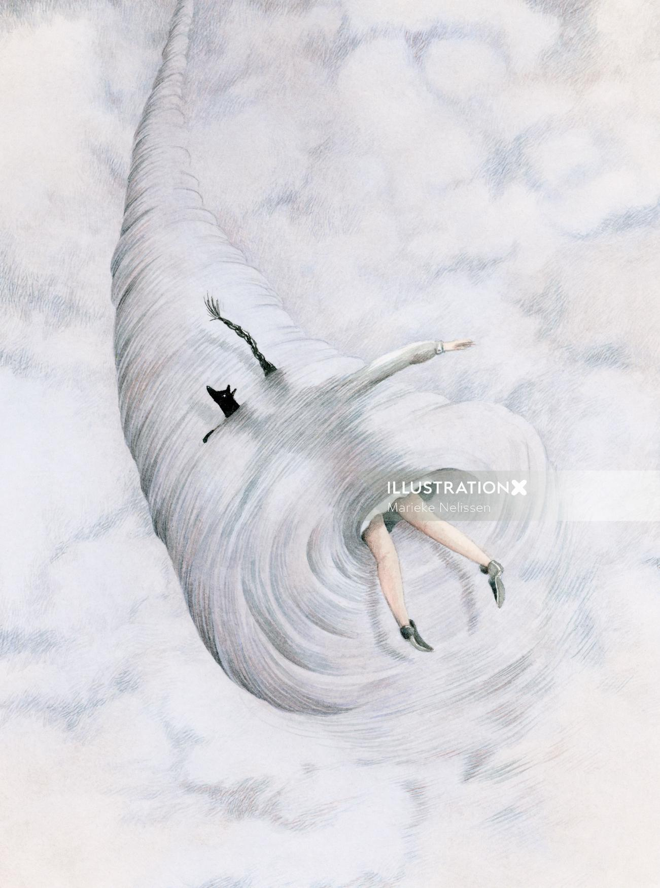 Illustration of Girl and her dog in a tornado.