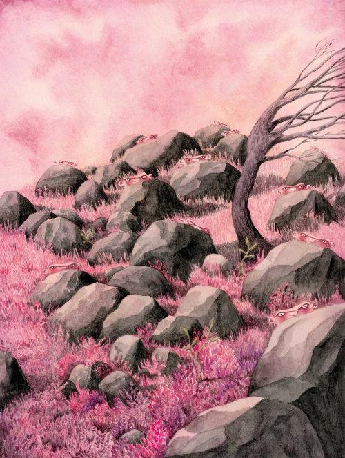 Homenzinhos carecas na paisagem magenta