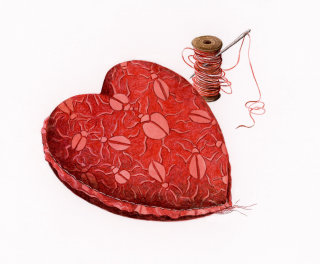 Heart made out of fabric
