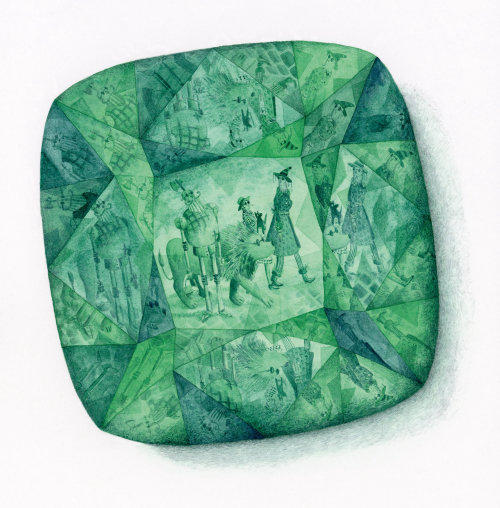 Reflection of characters from the wizard of Oz in an emerald stone