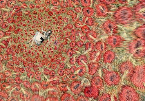 Dorothy e Toto dormindo em um campo de papoulas