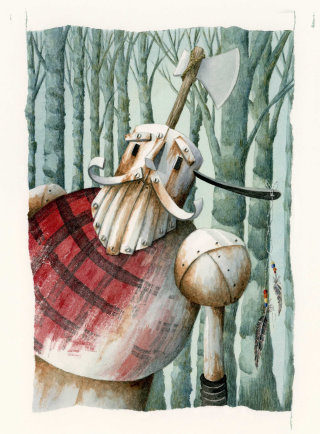Gouache illustration of forester from the wizard of Oz.