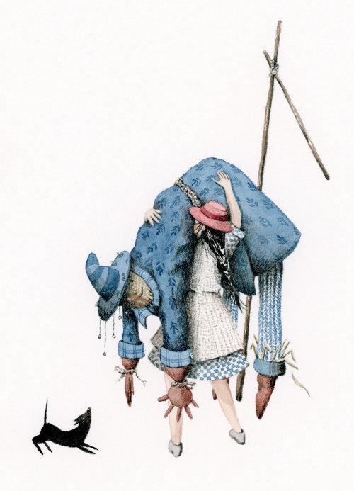 Dorothy levantando o espantalho do poste.