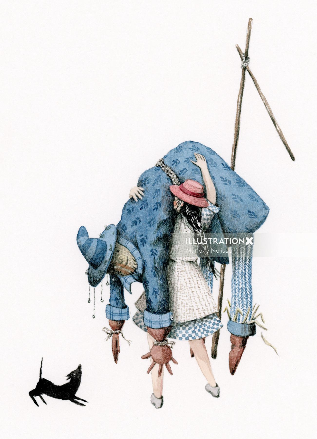 Dorothy lifting the scarecrow from his pole.