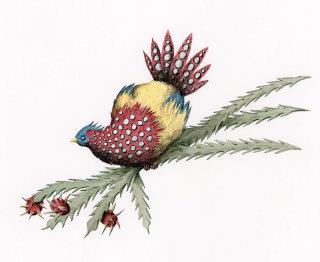 Bird on a cactus branch.