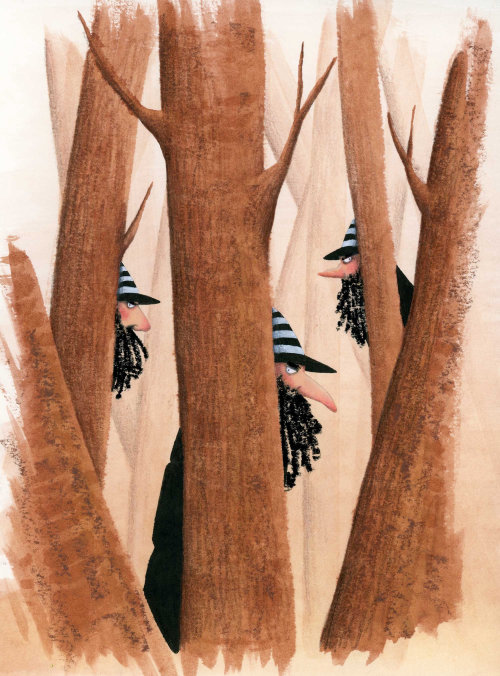 Bandidos se escondendo atrás de árvores na floresta