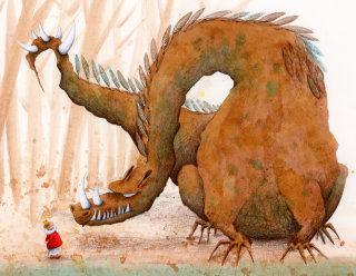 King meeting dragon at the waterfront.illustration