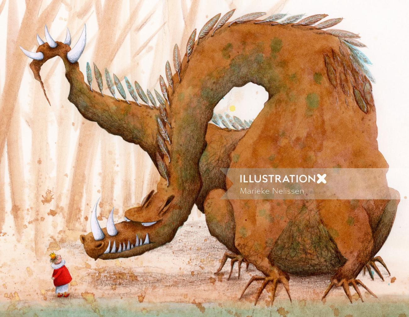 King meeting dragon at the waterfront.illustration