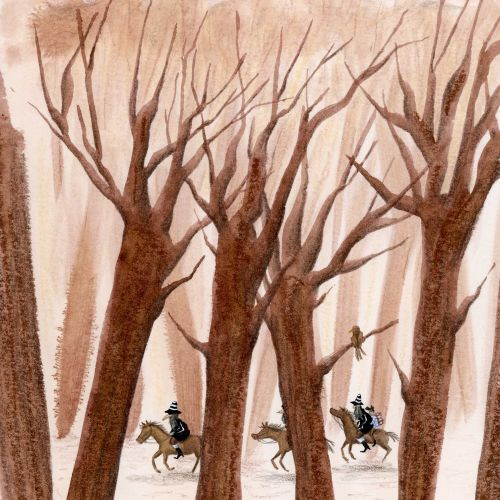Bandits riding on horses on forest path