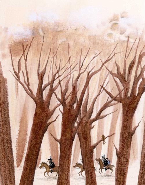 Bandidos, montando cavalos no caminho da floresta