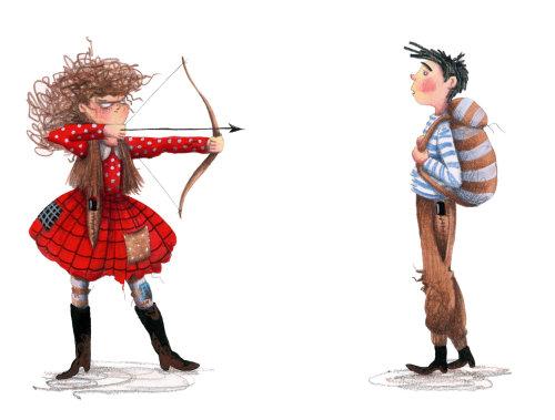 Menina mantém menino com uma arma com arco e flecha