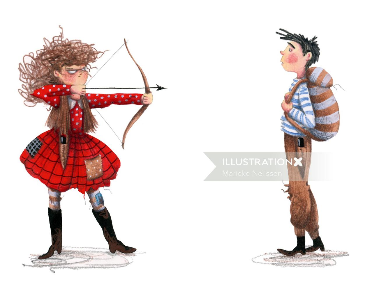Girl keeps boy at gunpoint with bow and arrow